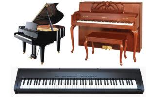 Piyano Tipleri ve Çeşitleri.Kuyruklu piyanolar, Konsol (duvar) Tipi piyanolar ve Portatif piyanolardır.